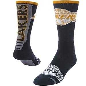 NBA LA Lakers JUMP KEY CURVE Crew Socks (1 Pair)-Size Adult Large by NBA Store
