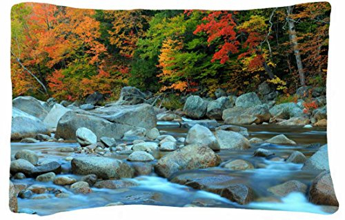 Microfiber Peach Standard Soft And Silky Decorative Pillow Case (20 * 26 Inch) - Nature Autumn River Trees Stones Landscape front-1089400