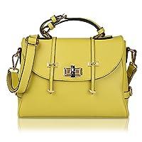 Kattee Fashion Twist Lock Genuine Leather Tote Shoulder Bag