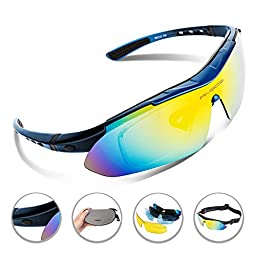RIVBOS 806 POLARIZED Sports Sunglasses with 5 Set Interchangeable Lenses for Cycling (Blue)