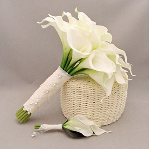 Coco*store 10x White Artificial Latex Calla Lily Flowers Bouquet Garden Home Wedding Decor