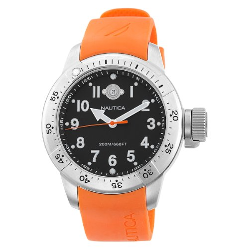 Nautica Men's BFC Diver Box Set N14508 Orange Resin Analog Quartz Watch with Black Dial