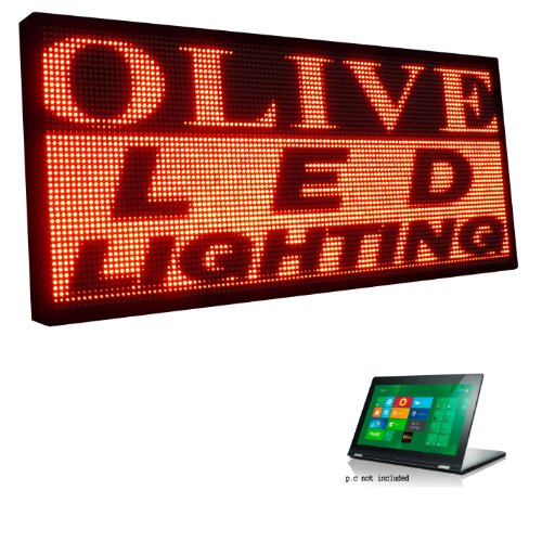"""Olive Led Signs 1 Color P20, 40"""" X 115"""" Programmable Scrolling Message Board - Industrial Grade Business Tools"""