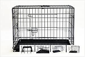 """FoxHunter 36"""" 36 Inch Quality Pet Dog Puppy Cat Training Cage Crate Carrier with Twin Door and Tray"""