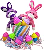 Pink and Purple Sock Monkey Bunny Easter Basket with Cupcake Shape Eggs
