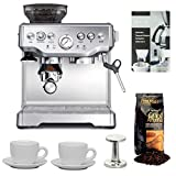 Breville BES870XL Barista Express Espresso Machine + Swiss Espresso Special Decalcifier, 2 x 4.2 fluid ounce Bottles + 2 Pcs Ceramic Tiara Espresso Cup and Saucer (3 oz) + Accessory Kit