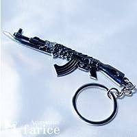 ドラゴンアレンジ 銃剣付きAK47モチーフ(1947年式カラシニコフ自動小銃)ブラックロジウムキーリング付きキーホルダー