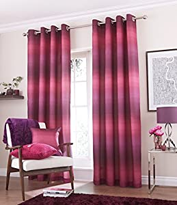 Bjorn Purple 66x90 Lined Ring Top Striped Faux Silk Curtains #rtsedarg *tur*