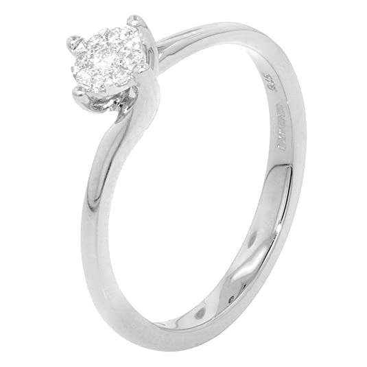 White Gold Crossover Cluster 0.08ct Diamond Engagement Ring