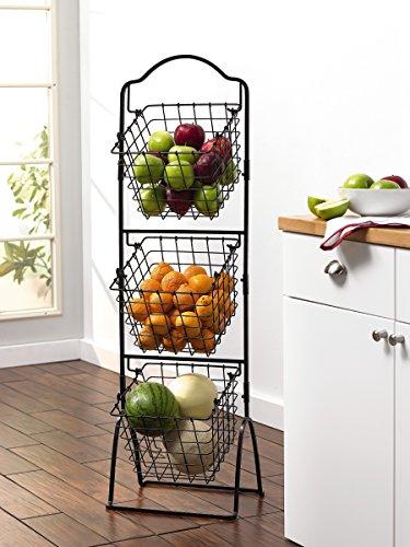 metal storage basket 3 organizer bins stand rack bathroom kitchen home holder. Black Bedroom Furniture Sets. Home Design Ideas