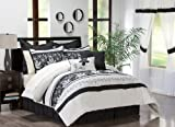 Victoria Classics Annabelle 24-Piece King Comforter Set, Black/White