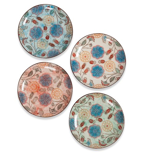 Couleur Nature Floral Ceramic Round Plate, Set Of 4