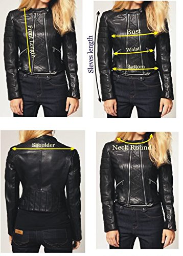 KGN FASHION Women Leather Jacket WL139 S Black