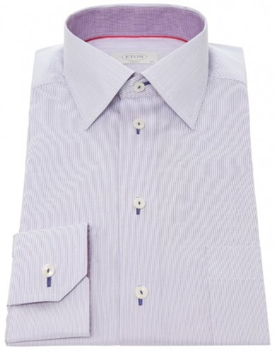 Eton Men's Shirt Purple Formal Microstripe UK 19