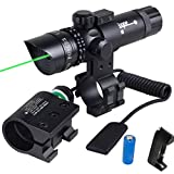 WNOSH Green Dot Sight with Pressure Switch 532nm Picatinny-Weaver Rail Scope Mount Universal Rifle Rechargeable CR123A Battery Charger