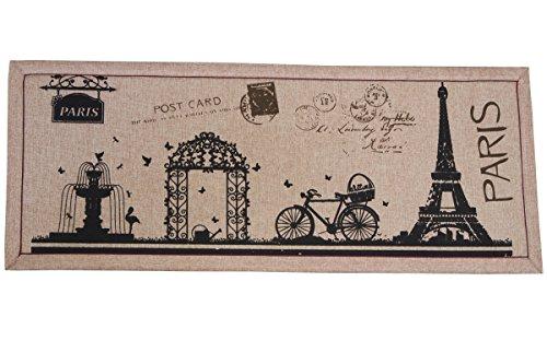 Door Mat - Indoor and Outdoor Rug - Eiffel Tower in Paris 18 Inch X 40 Inch