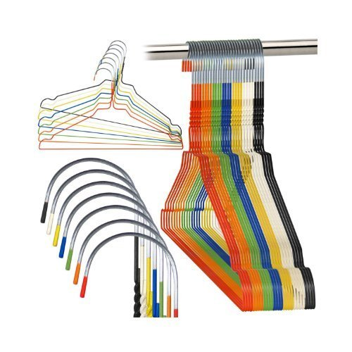 20 High Quality Galvanised Steel Metal Coat Clothes Hangers With Plastic Coating In Mixed Colours 16″ (40.5Cm) Wide – 13 Gauge