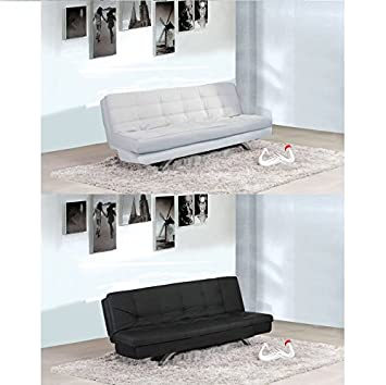 Divano letto 192x87 bianco o nero in ecopelle reclinabile sofa salotto arredo cuscini soggiorno