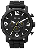 Fossil Mens JR1425 Nate Chronograph Black Silicone Watch