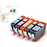 Premier Ink Pgi-525Bk / Cli-526 5 Compatible Printer Ink Cartridges For Canon Pixma Mg5200 Mg5350 Mg5250 Mg5300 Ip4850 Ip4800 Mx885 Ip4950 Ip4840 Ix6550 Mg5120 Mg5150 Mg6120 Mg6150 Mg6250 Mg8120 Mg8150 Mg8170 Ix6250 Mx882 Mg8250 Mg8220 Mg6100 Mx895 Mx715 Mg6220