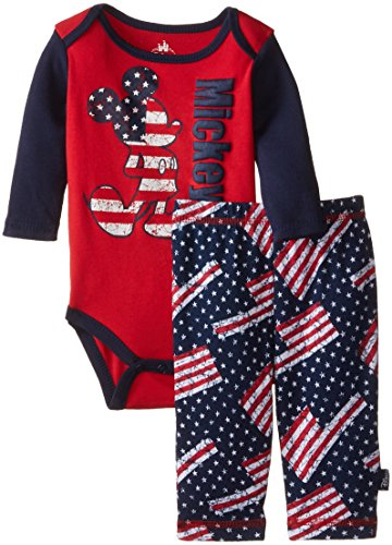 Disney Baby Boys' Mickey Mouse Boy Bodysuit and Pant Set, USA, Red, 3-6 Months