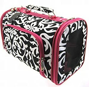Pink Damask Cat Dog Pet Carrier Soft-sided Medium, 16-inch
