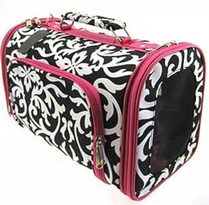 Pink Damask Cat Dog Pet Carrier Soft-sided Medium, 16-inch