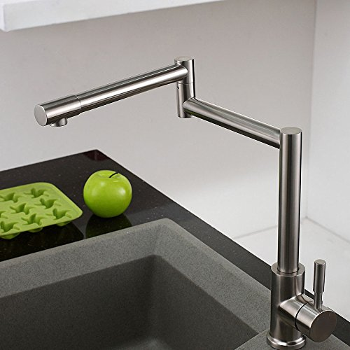 JinYuZe Stainless Steel 1-Lever Deck-Mount Retractable Pot Filler Kitchen Faucet In Brushed Nickel Finished