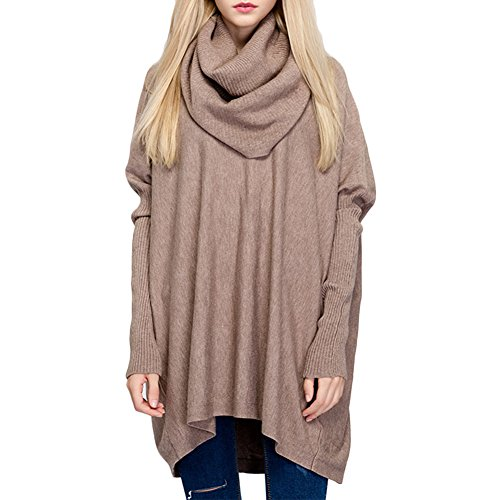 Ashlen Women's Fitted Long Sleeve Cowl Neck Oversize Knit Sweater Tan (Cowl Cashmere compare prices)