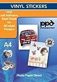 A4 Inkjet (Jet d'encre) Creative Autocollants Vinyl Matt x 20 Feuilles