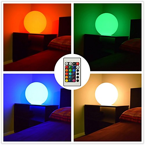 "12"" Ultra-fun Waterproof Floating RGB Globe Light LED Color-changing Orb with Remote Control, 17 RGB Colors & 4 Light Modes, Great for Night Light, Party, Pool, Patio, Ambient & Decorative Lighting"