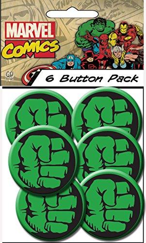 "C&D Visionary Marvel Comics Retro Hulk Fist 1.25"" Button (6-Piece)"