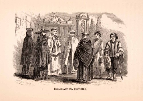 [1855 Wood Engraving Mexico Spanish Religion Monks Ecclesiastical Costumes Priest - Original Wood] (Monks Costumes)