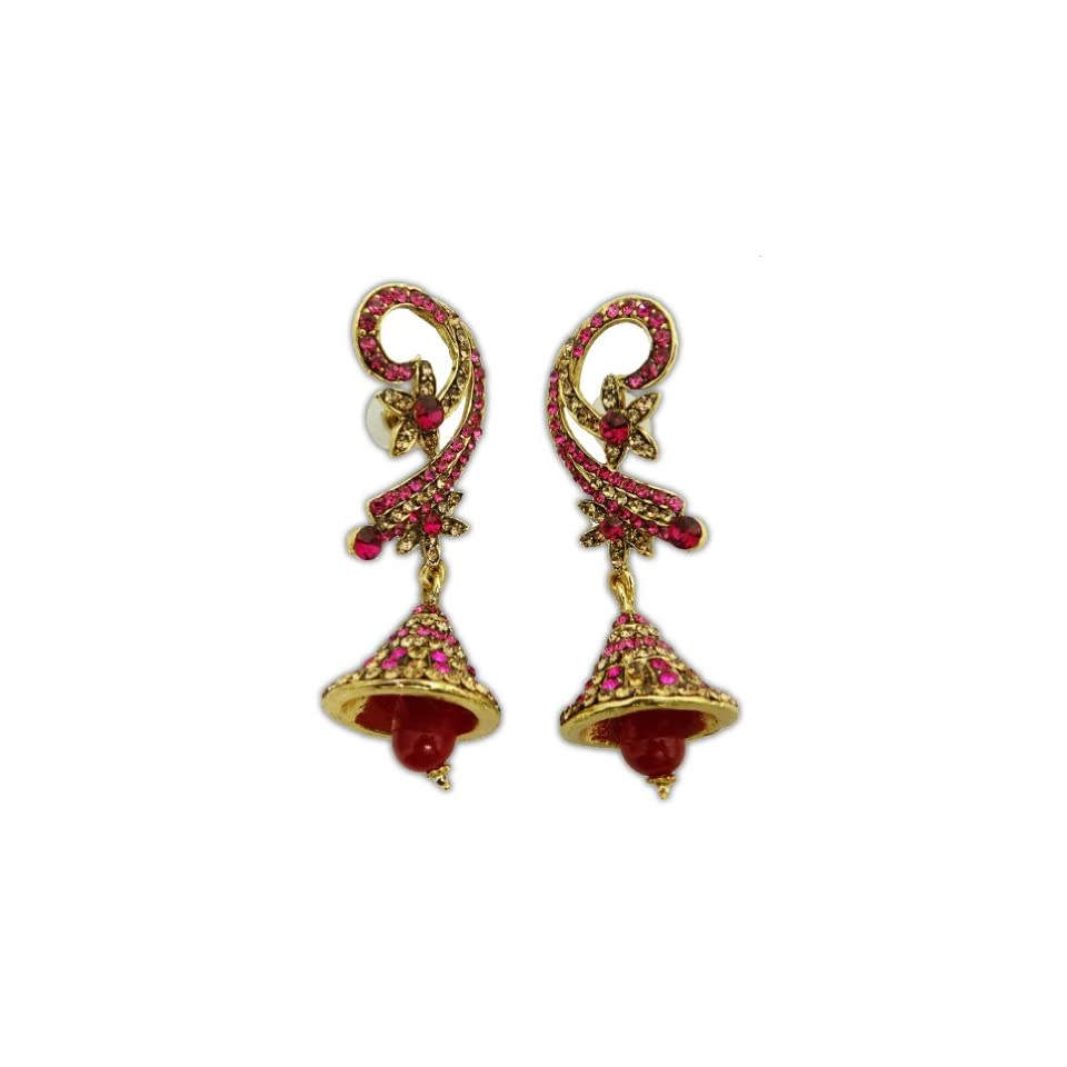 Indian Traditional Dangle Earring Magenta Gold Tone Ethnic Wedding Party Jewelry Jewelry