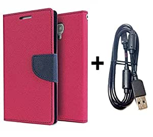 Bcbgmaxazria Mercury Wallet Flip Case Cover For Moto G2 (Pink) With Sony Usb Charging Data Cable