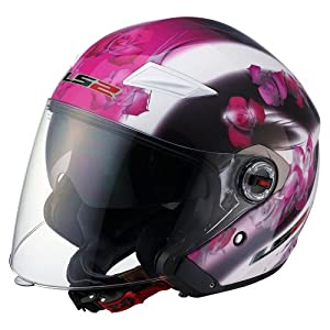 LS2 Helmets OF569 Open Face Helmet (Floral Pink, Small)
