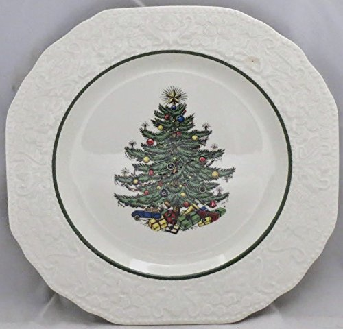 Cuthbertson Dickens Embossed Christmas (Cream) Salad Plate Cuthbertson Christmas Tree