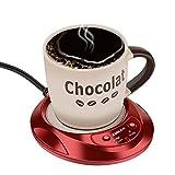 KUWAN Coffee Warmer Desktop Beverage Warmer Electric Mug Cup Warmer Tea Milk for Office Home 110V 11W (Red)