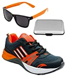 Spot On Men's Dark Grey Orange Running Shoes With Lotto Sunglasses And Cardholder Combo UK-8