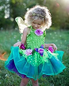 Fairy Blooms Deluxe Dress Green with Wings (Medium)