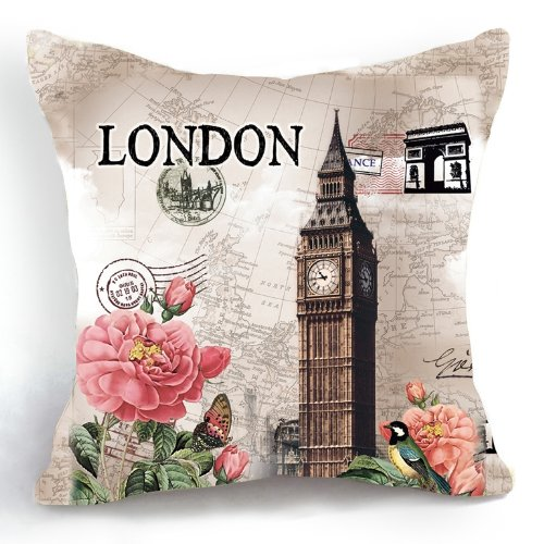 Ojia Retro Vintage London Big Ben Flower 18 X 18 Inch Cotton Linen Home Decorative Throw Cushion Cover / Pillow Sham