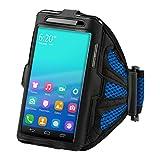 kwmobile スポーツアームバンド Smartphones 用- ジョギング 歩行 スポーツバッグ フィットネスバンド黒色 青色 - 対応:Samsung, Apple