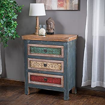 Leo Solid Wood 3 Drawers Chest Cabinet in Weathered Multi-colored Finish