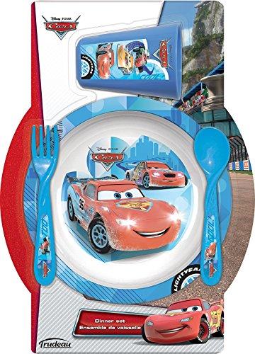 Trudeau 5061044 Cars Ensemble de 4 Vaisselles pour Enfant Mélamine/Plastique Bleu