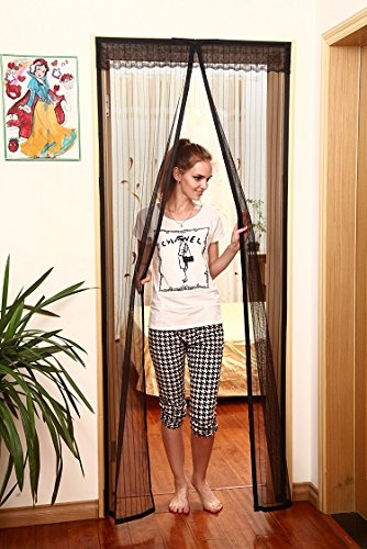 Tension Rod With Mesh Screen Doors : Breeze in bugs out magnetic screen door with curtain