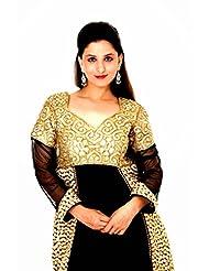 Raagbydeepa Stitched Anarkali Black And Gold Kurta And Leggings Set For Women