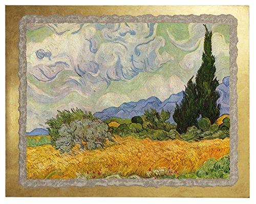 """Ars Martos - """"Campo di grano con cipressi"""" Riproduzione d'Arte in Affesco su Intonaco. Misure: base 50 cm x 40 cm altezza"""
