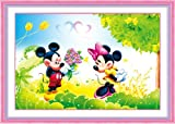 Happy Mickey and Minnie Mouse, Diamond Painting DIY Kit, Beading Paint By Number Kit, Size 56x44cm