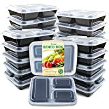 Enther Meal Prep Containers [20 Pack] 3 Compartment with Lids, Food Storage Bento Box   BPA Free   Stackable   Reusable Lunch Boxes, Microwave/Dishwasher/Freezer Safe,Portion Control (36 oz)
