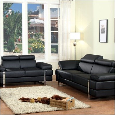 Buy Low Price Chintaly Imports Canton Head Rest and Arm Bonded Leather Sofa and Loveseat Set (CANTON-SFA / CANTON-LVS)